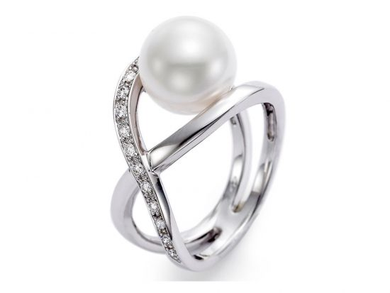MASTOLONI - 18K White Gold 11-11.5MM White Round Cultured Pearl Ring with 17 Diamonds 0.26 TCW