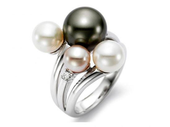 MASTOLONI - 18K White Gold 8-10MM Black Round Tahitian Pearl Ring with 3 Diamonds 0.08 TCW