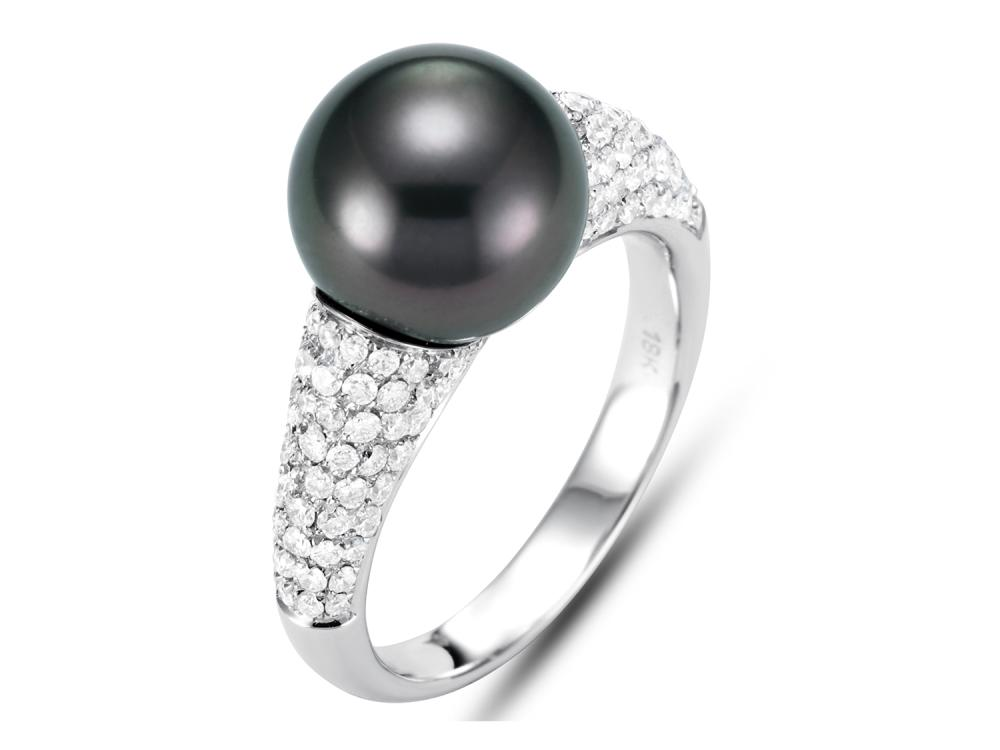MASTOLONI - 18K White Gold 10.4MM Black Round Tahitian Pearl Ring with 126 Diamonds 1.01 TCW