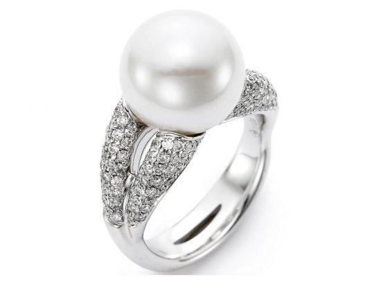 MASTOLONI - 18K White Gold 12-13MM White Round South Sea Pearl Ring with 148 Diamonds 1.07 TCW