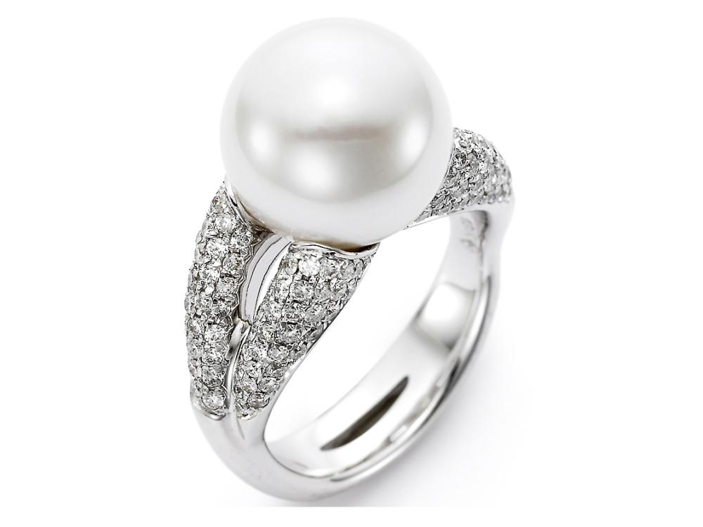 MASTOLONI - 18K White Gold 12-13MM White Round South Sea Pearl Ring with 148 Diamonds 1.07 TCW