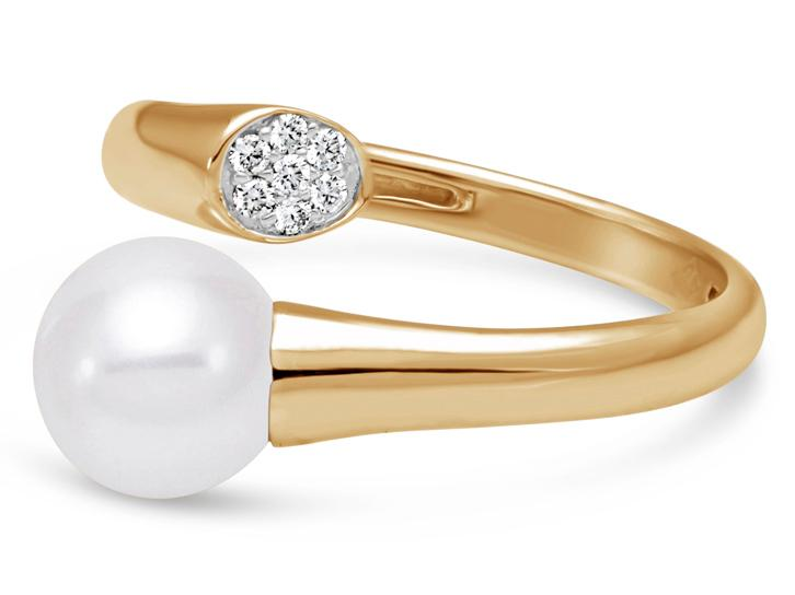 MASTOLONI - 18K Yellow Gold 7.5-8MM White Round Cultured Pearl Ring with 7 Diamonds 0.06 TCW