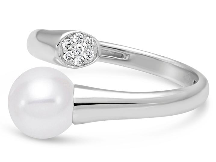 MASTOLONI - 18K White Gold 7.5-8MM White Round Cultured Pearl Ring with 7 Diamonds 0.06 TCW