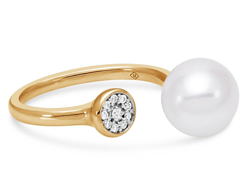 MASTOLONI - 18K Yellow Gold 9-9.5MM White Round Cultured Pearl Ring with 10 Diamonds 0.06 TCW