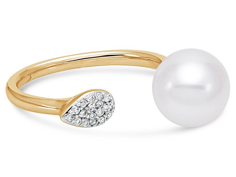 MASTOLONI - 18K Yellow Gold 9-9.5MM White Round Cultured Pearl Ring with 17 Diamonds 0.07 TCW