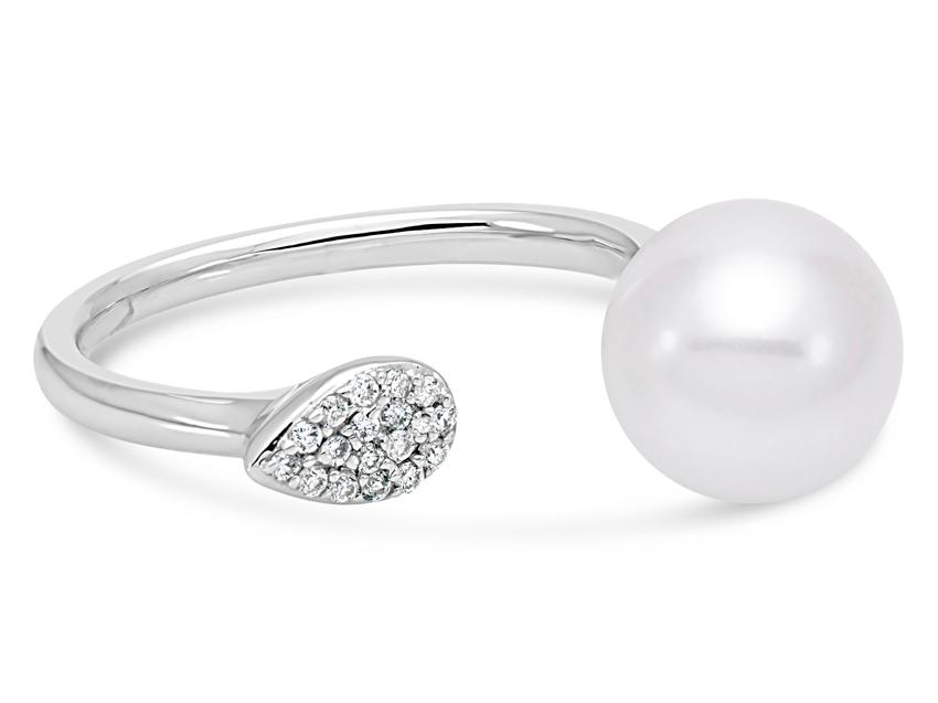 MASTOLONI - 18K White Gold 9-9.5MM White Round Cultured Pearl Ring with 17 Diamonds 0.07 TCW