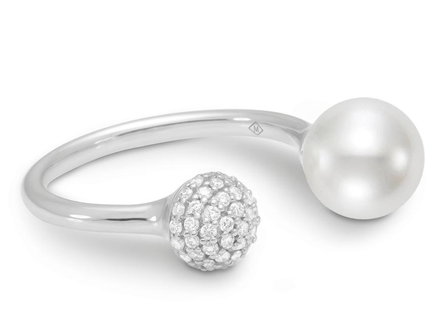 MASTOLONI - 18K White Gold 8-8.5MM White Round Cultured Pearl Ring with 49 Diamonds 0.25 TCW