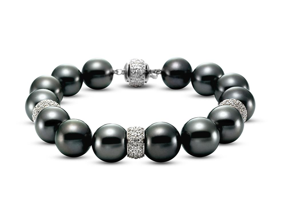 MASTOLONI - 18K White Gold 10.5-11MM Black Round Tahitian Pearl Bracelet with 159 Diamonds 2.06 TCW 7.25 Inches