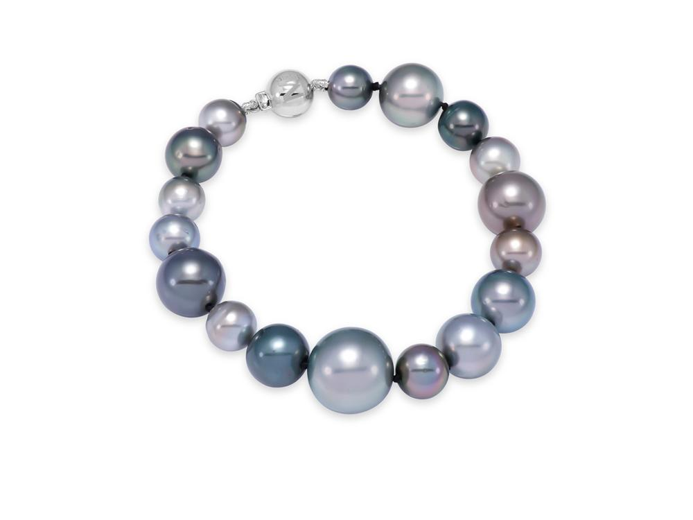 MASTOLONI - 18K White Gold 7-14MM Black Semi-Round Tahitian Pearl Bracelet 7 Inches