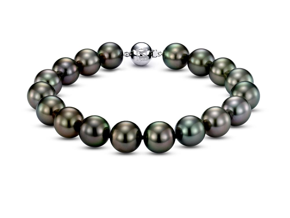 MASTOLONI - 18K White Gold 9-10.5MM Black Round Tahitian Pearl Bracelet 7 Inches