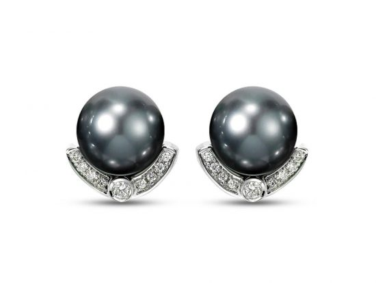 MASTOLONI - 18K White Gold 11.2MM Grey Round Tahitian Pearl Clip/Lever Back Earring with 18 Diamonds 0.26 TCW