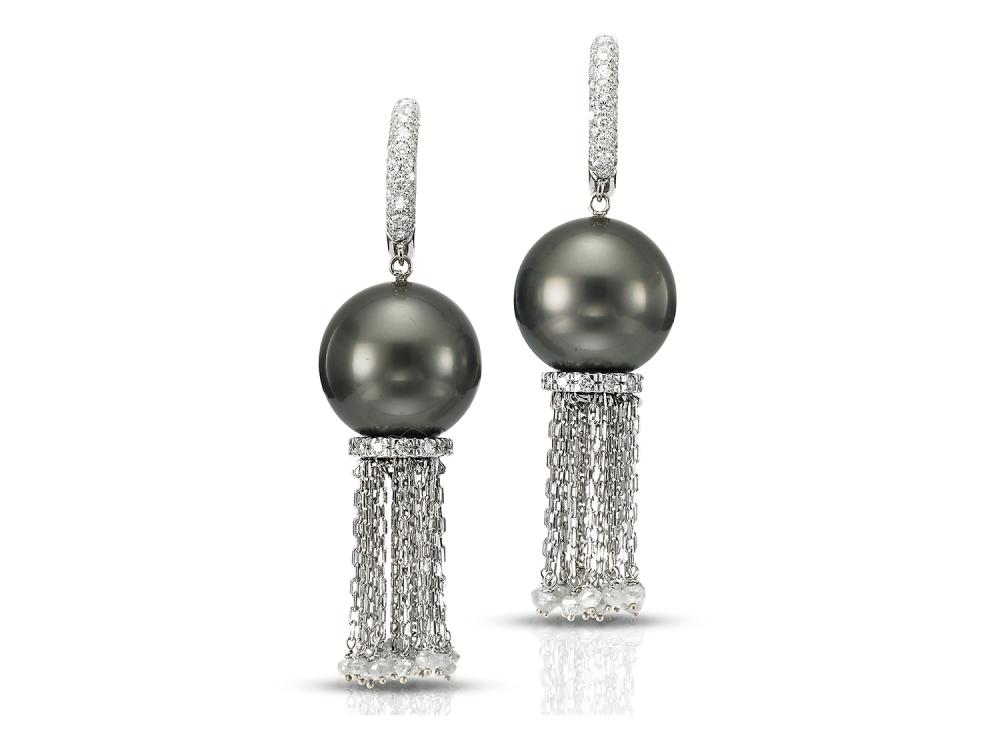 MASTOLONI - 18K White Gold 13.1MM Black Round Tahitian Pearl Clip/Lever Back Earring 3.33 TCW