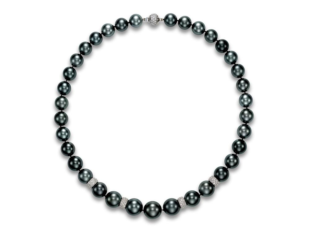 MASTOLONI - 18K White Gold 11-14.9MM Black Round Tahitian Pearl Strand with 199 Diamonds 2.60 TCW 18.25 Inches