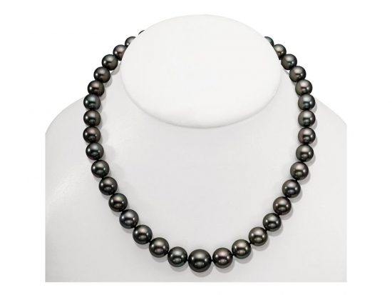 MASTOLONI - 18K White Gold 13.5-10MM Black with Green Overtones Round Tahitian Pearl Strand 18 Inches