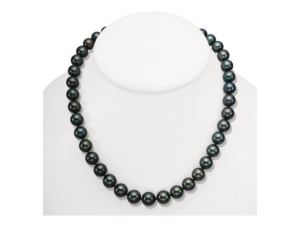MASTOLONI - 18K Yellow Gold 11.5-10.1MM Black with Green Overtones Round Tahitian Pearl Strand 17 Inches