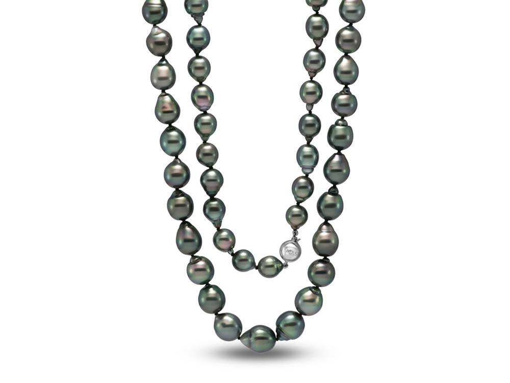 MASTOLONI - 18K White Gold 9-11MM Black Drop Shaped Tahitian Pearl Strand 34 Inches