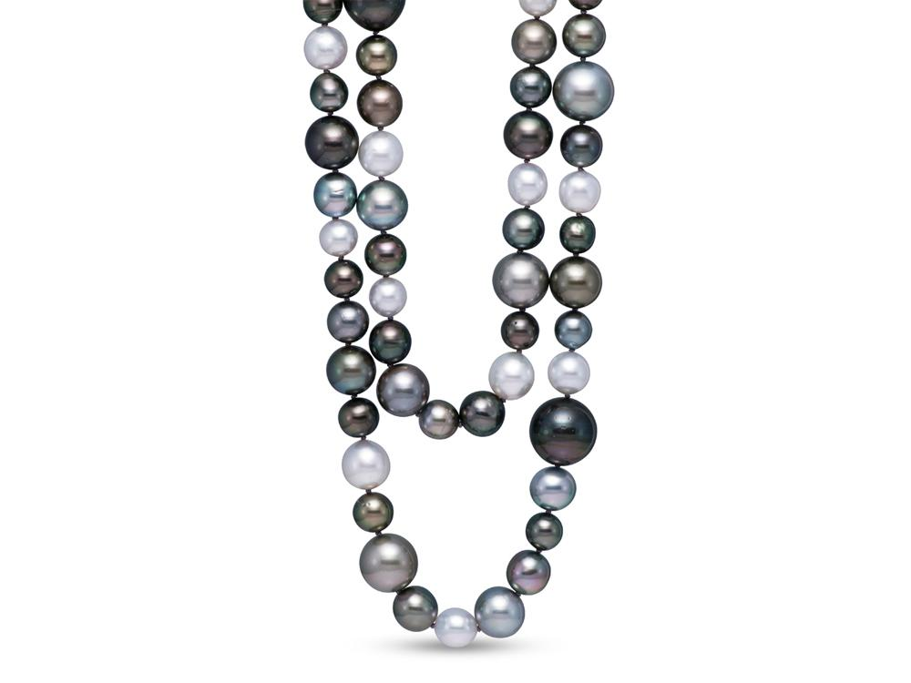 MASTOLONI - 18K White Gold 9-16+MM Multicolor Black and White Near Round Tahitian and South Sea Pearl Strand 34 Inches