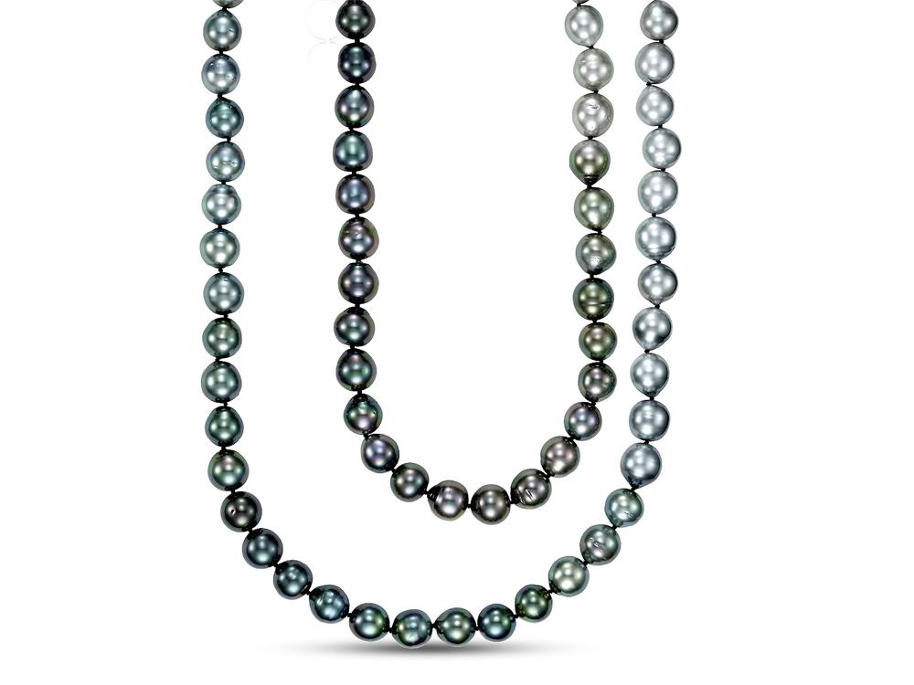 MASTOLONI - 18K White Gold 9-10MM Black Fade Multi Round Tahitian Pearl Strand 36 Inches
