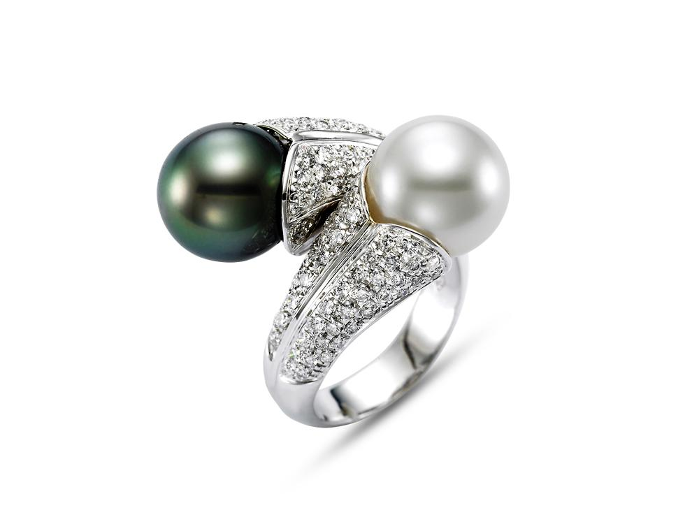 MASTOLONI - 18K White Gold 11MM Multicolor Black & White Drop Shaped South Sea and Tahitian Pearl Ring with 188 Diamonds 1.70 TCW