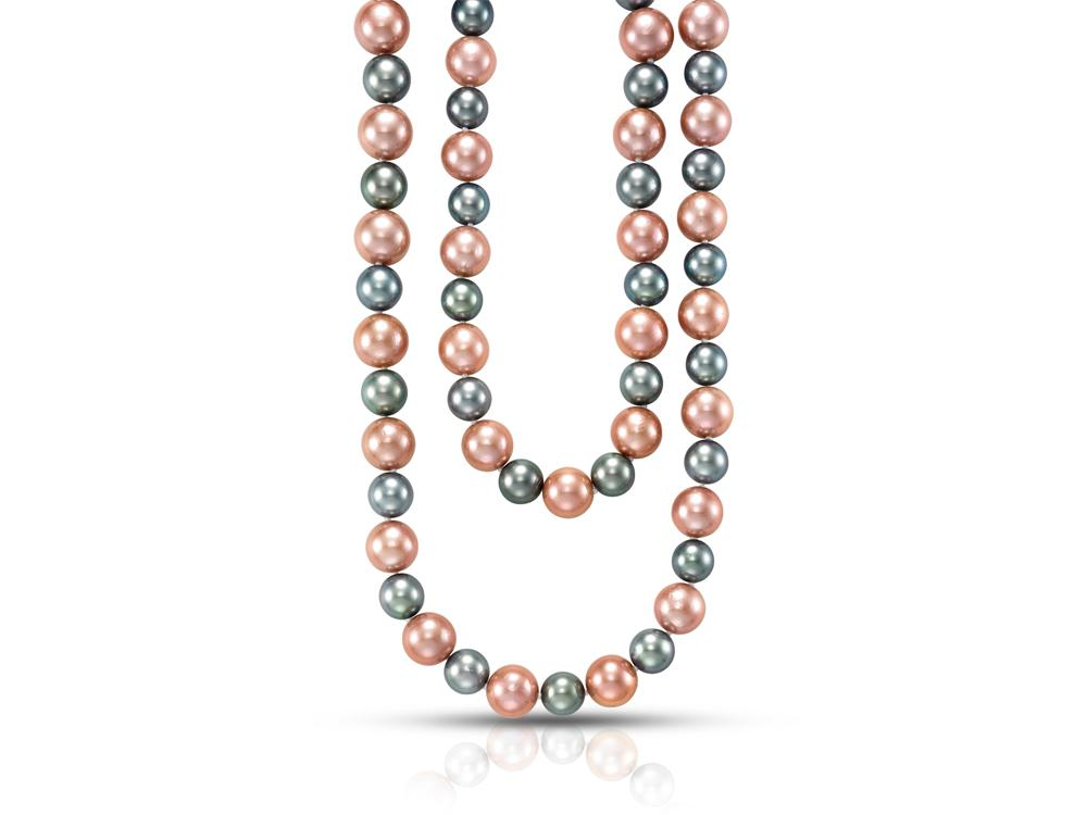 MASTOLONI - 18K White Gold 9.3-13MM Multicolor Black & Pink Round Tahitian and Freshwater Pearl Strand 30 Inches