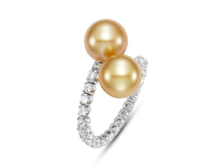 MASTOLONI - 18K White Gold 9.6MM Golden Round South Sea Pearl Ring with 14 Diamonds 0.41 TCW
