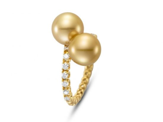 MASTOLONI - 18K Yellow Gold 9.6MM Golden Round South Sea Pearl Ring with 14 Diamonds 0.41 TCW