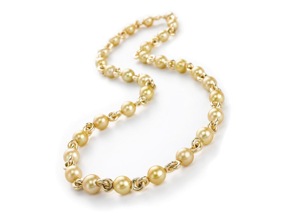 MASTOLONI - 18K Yellow Gold 10.7-12.7MM Golden Near Round South Sea Pearl Necklace 28 Inches