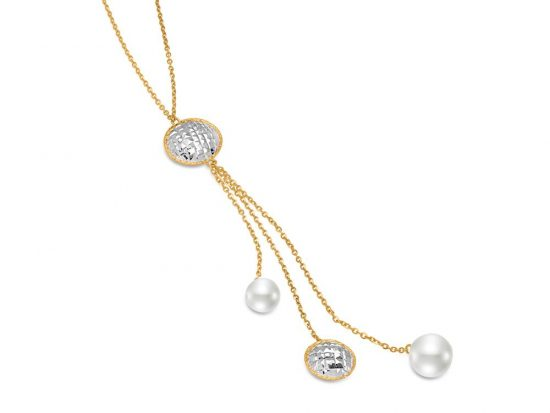MASTOLONI - 14K Two Tone Gold 8-10.5MM White Round Cultured Pearl Necklace 27.5 Inches