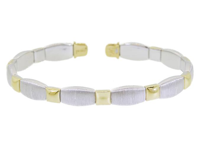 SLOANE STREET - Flexible Silver Strie Stretchy Bracelet