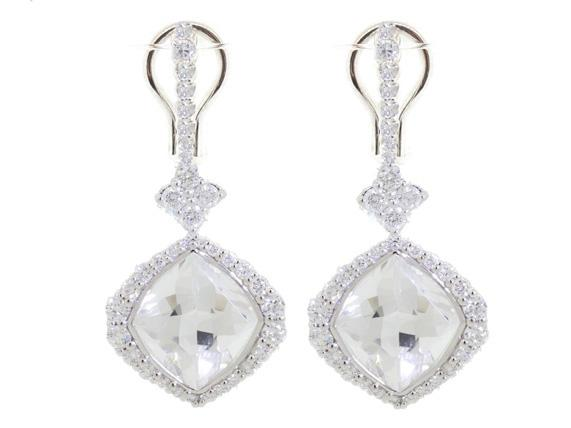 SLOANE STREET - Marquis Drop White Topaz Earrings