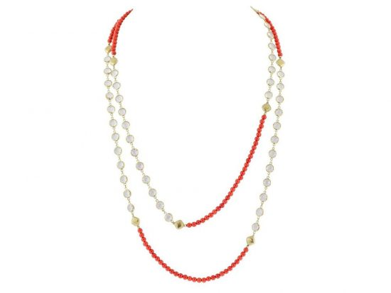 SLOANE STREET - Coral and White Topaz Necklace