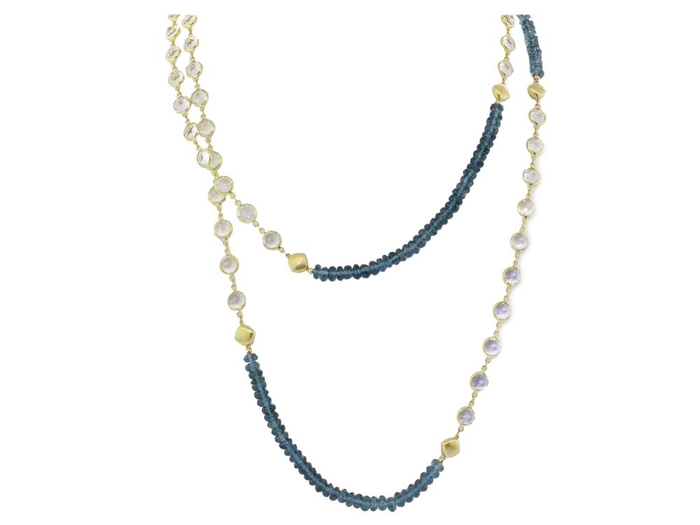 SLOANE STREET - London Blue Topaz and White Topaz Necklace