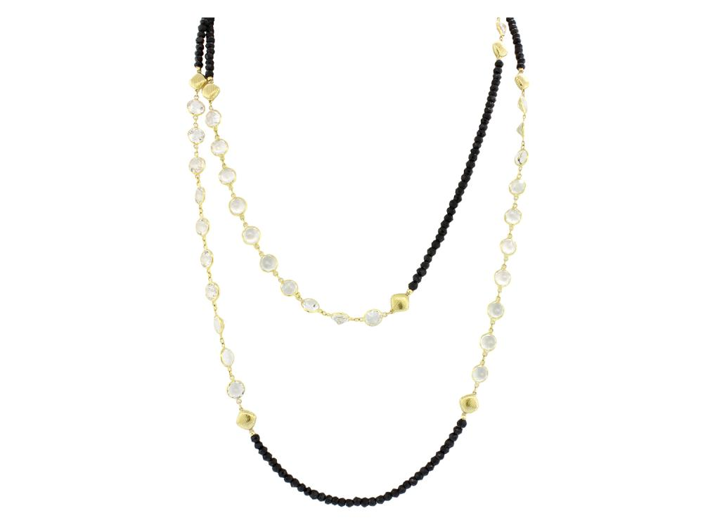 SLOANE STREET - Onyx and White Topaz Necklace