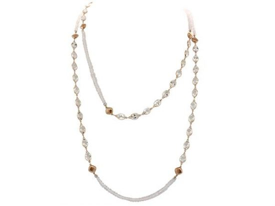 "SLOANE STREET - 40"" Pink Quartz and White Topaz Necklace"