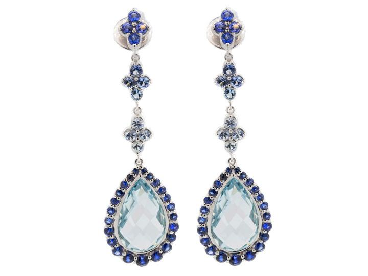SLOANE STREET - Triple Clover Blue Sapphire Earrings