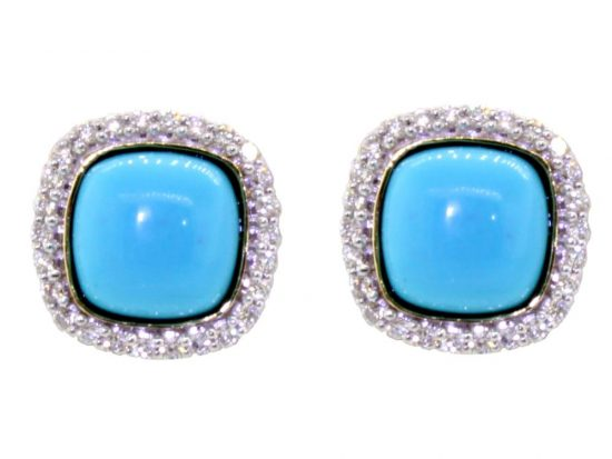 SLOANE STREET - Cushion Turquoise Stud Earrings