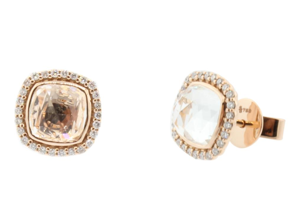 SLOANE STREET - Cushion White Topaz Stud Earrings