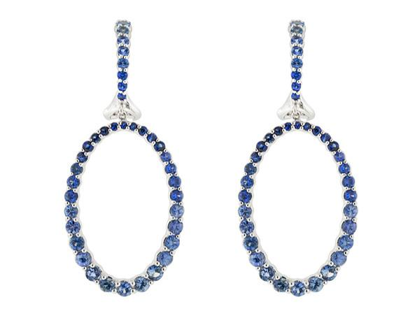 SLOANE STREET - Graduated Blue Sapphire Open Oval Earrings