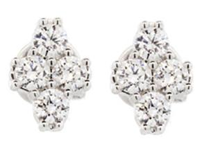 SLOANE STREET - Four White Diamond Clover Earrings