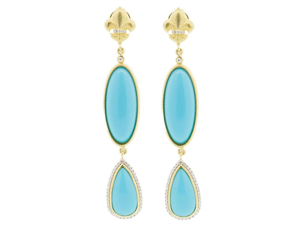 SLOANE STREET - Double Oval Turquoise Earrings