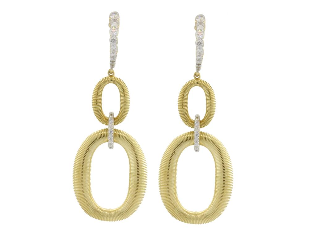 SLOANE STREET - Strie Double Gold Link Drop Earrings