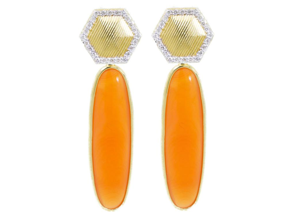 SLOANE STREET - Gold Strie Hexagon Earrings