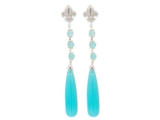 SLOANE STREET - Aqua Chalcedony Briolette Earrings