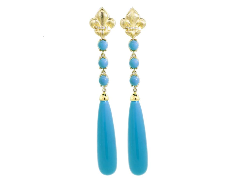 SLOANE STREET - Large Turquoise Briolette Drop Earrings
