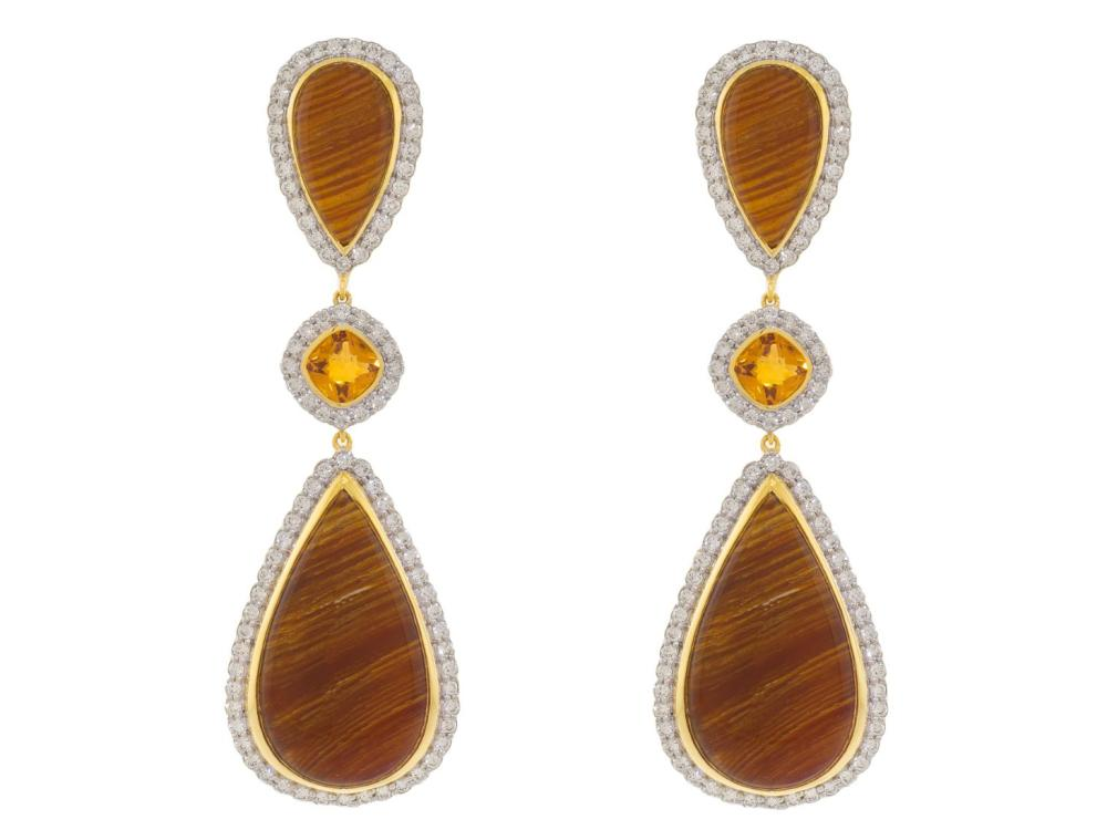 SLOANE STREET - Wood Opal  Earrings