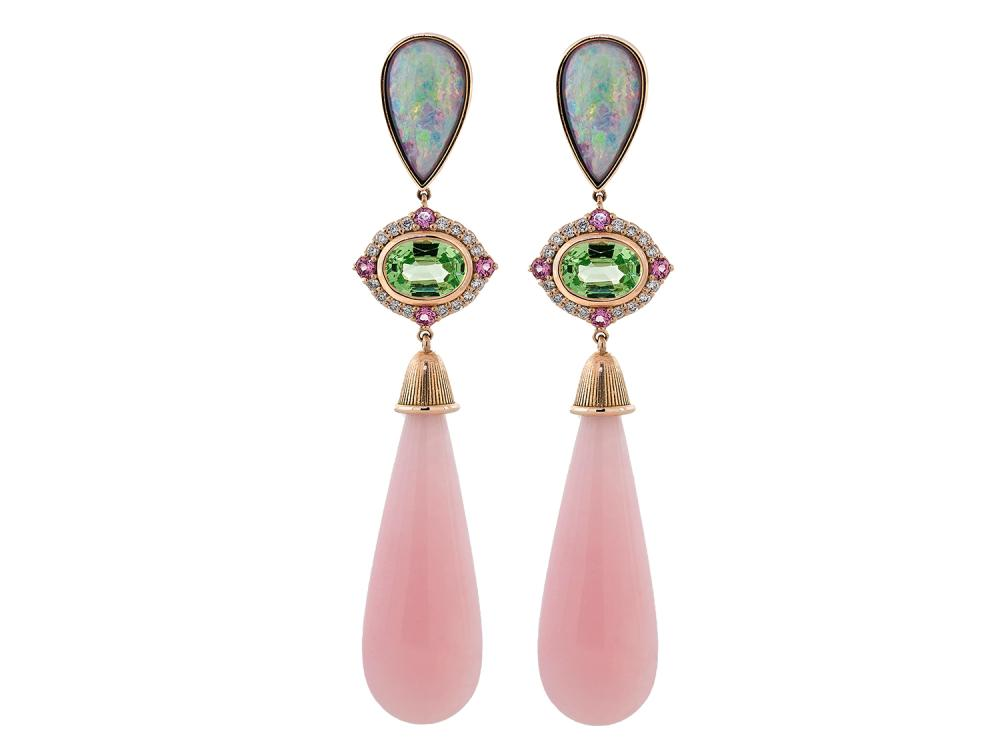 SLOANE STREET - Pink Opal Briolette and Black Opal Top Earrings
