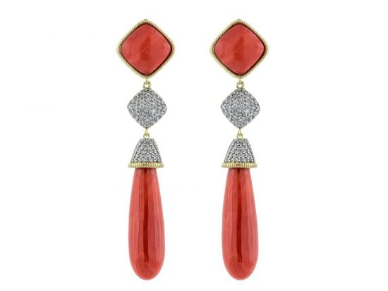 SLOANE STREET - Coral Briolette  Earrings