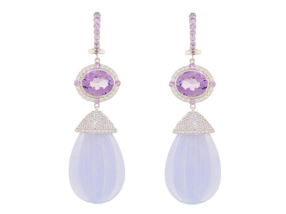 SLOANE STREET - Lavender Chalcedony Brio Earrings