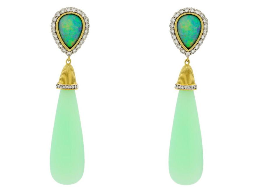 SLOANE STREET - Green Opal Briolette Earrings