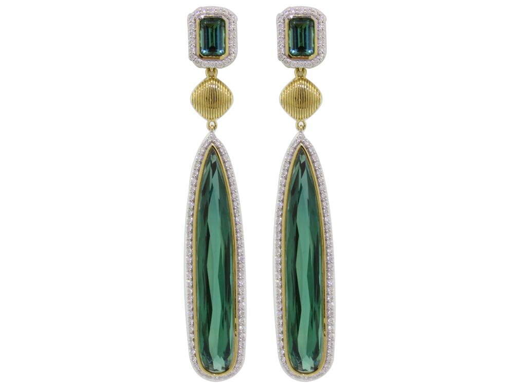 SLOANE STREET - Green Tourmaline Briolette Earrings